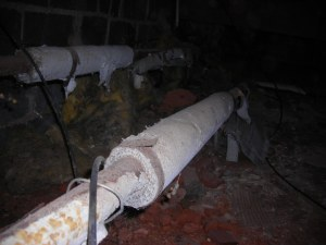 Asbestos-based piping insulation