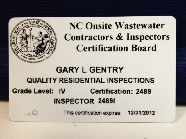 Raleigh Home Inspector Earns Onsite Wasterwater Certification