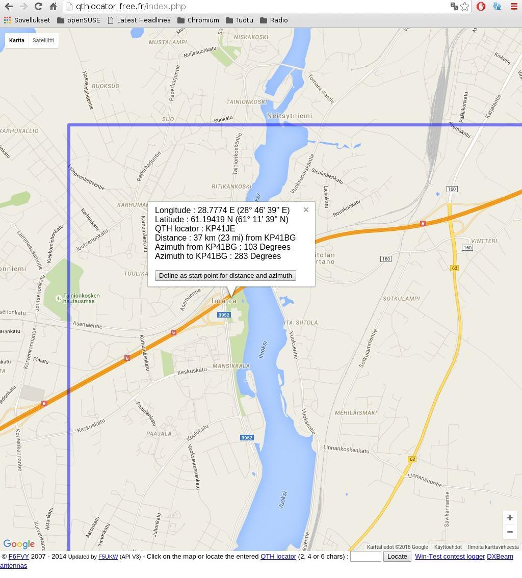 Azimuthal Map Locator Se On Qth Keskeinen Kartta Cb Station