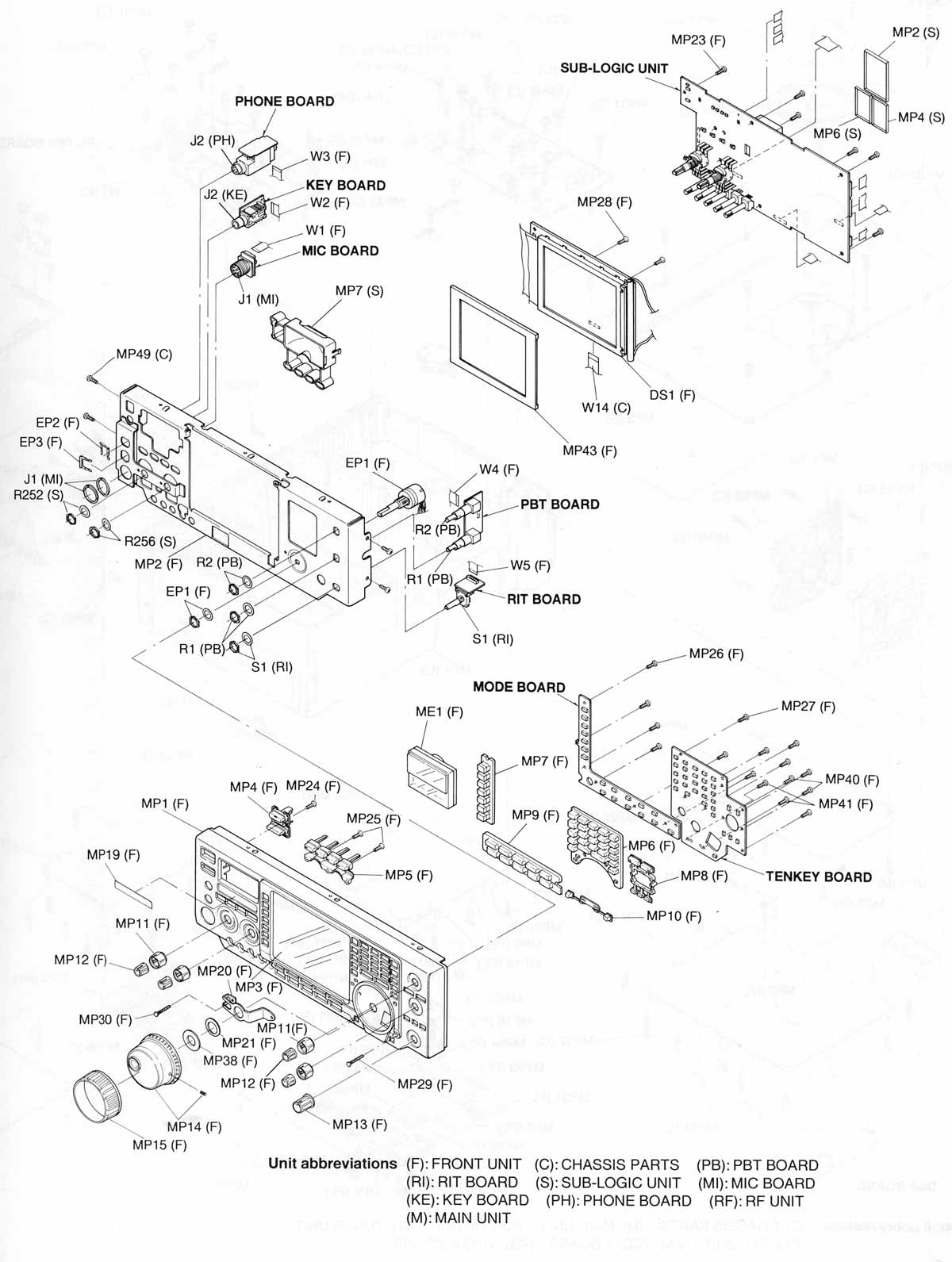 IC-756 Front Panel Exploded View