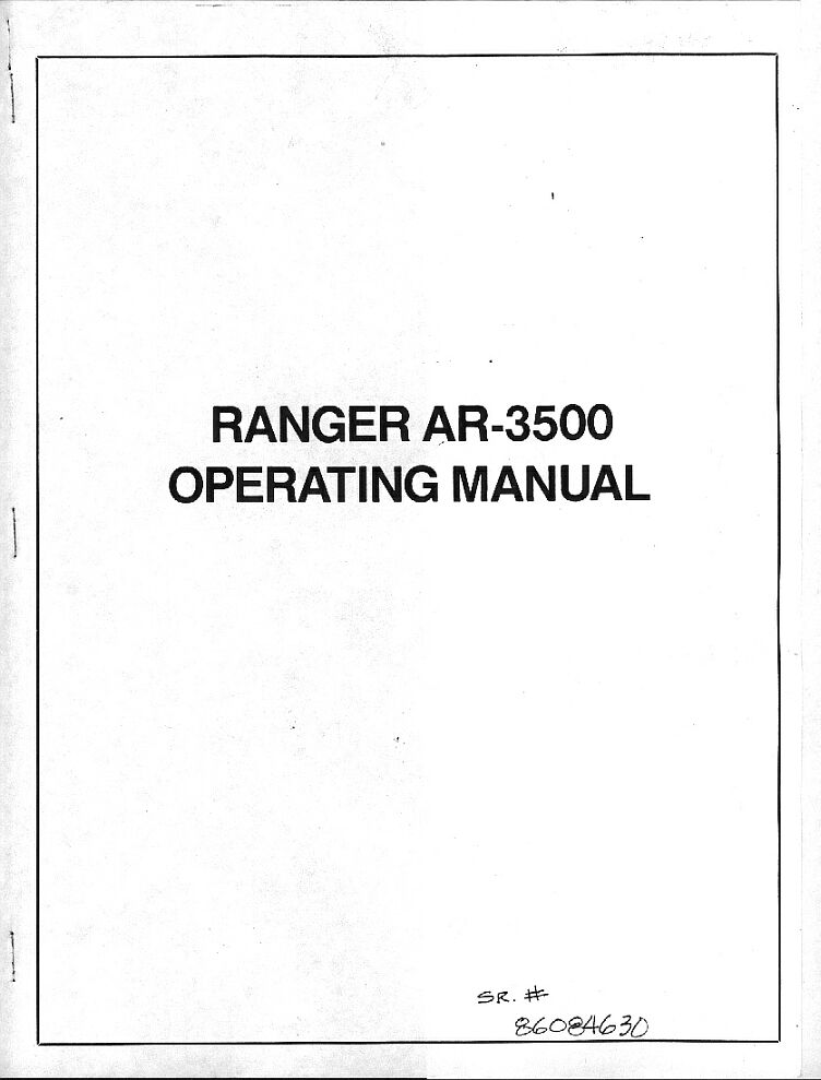 Ranger manual cover page