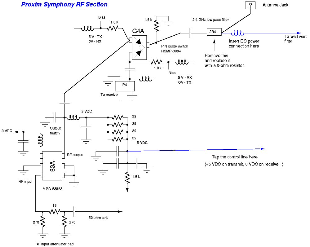 medium resolution of bi directional 2 4 ghz one watt amplifier with receive pre amp wifi signal booster schematic diagram