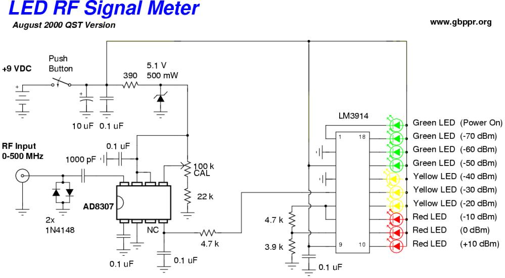 medium resolution of  led rf signal meter schematic