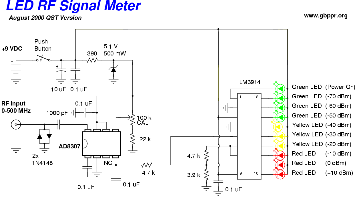 hight resolution of  led rf signal meter schematic