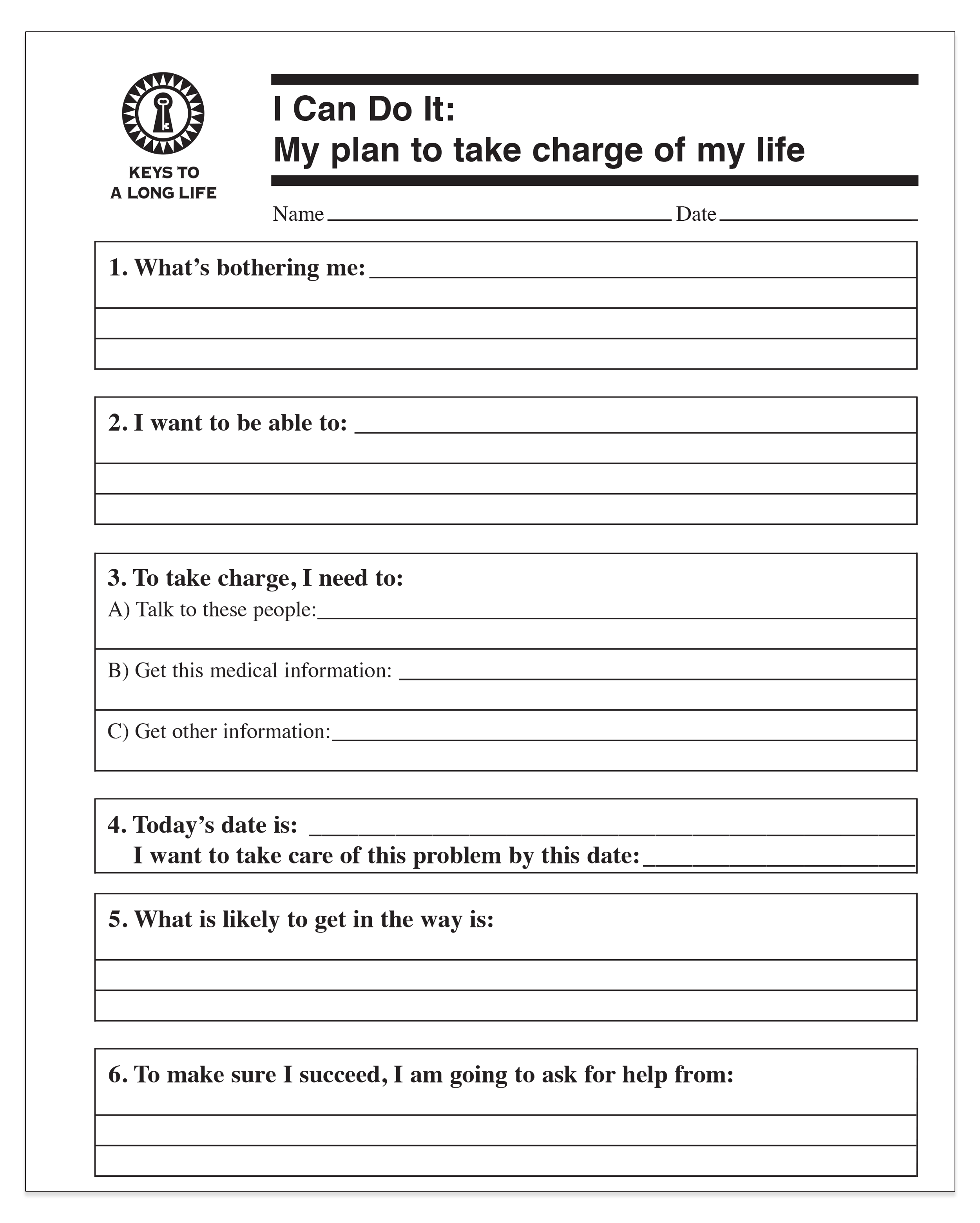 My Plan To Take Charge Of My Life