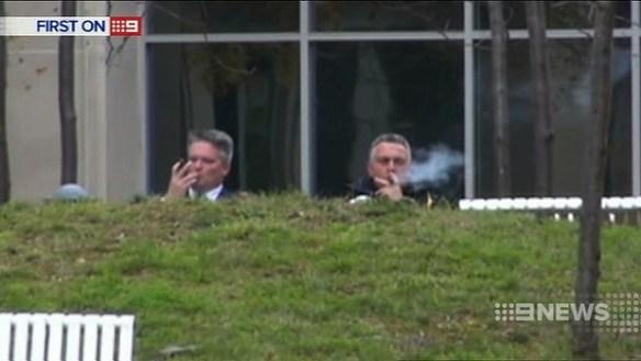 Let Them Puff Cubans - Joe Hockey and Mathia Corman smoking cigars