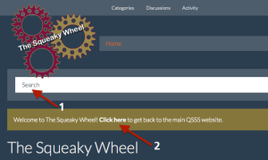 Screenshot of Squeaky Wheel searchbox and QSSS homepage link