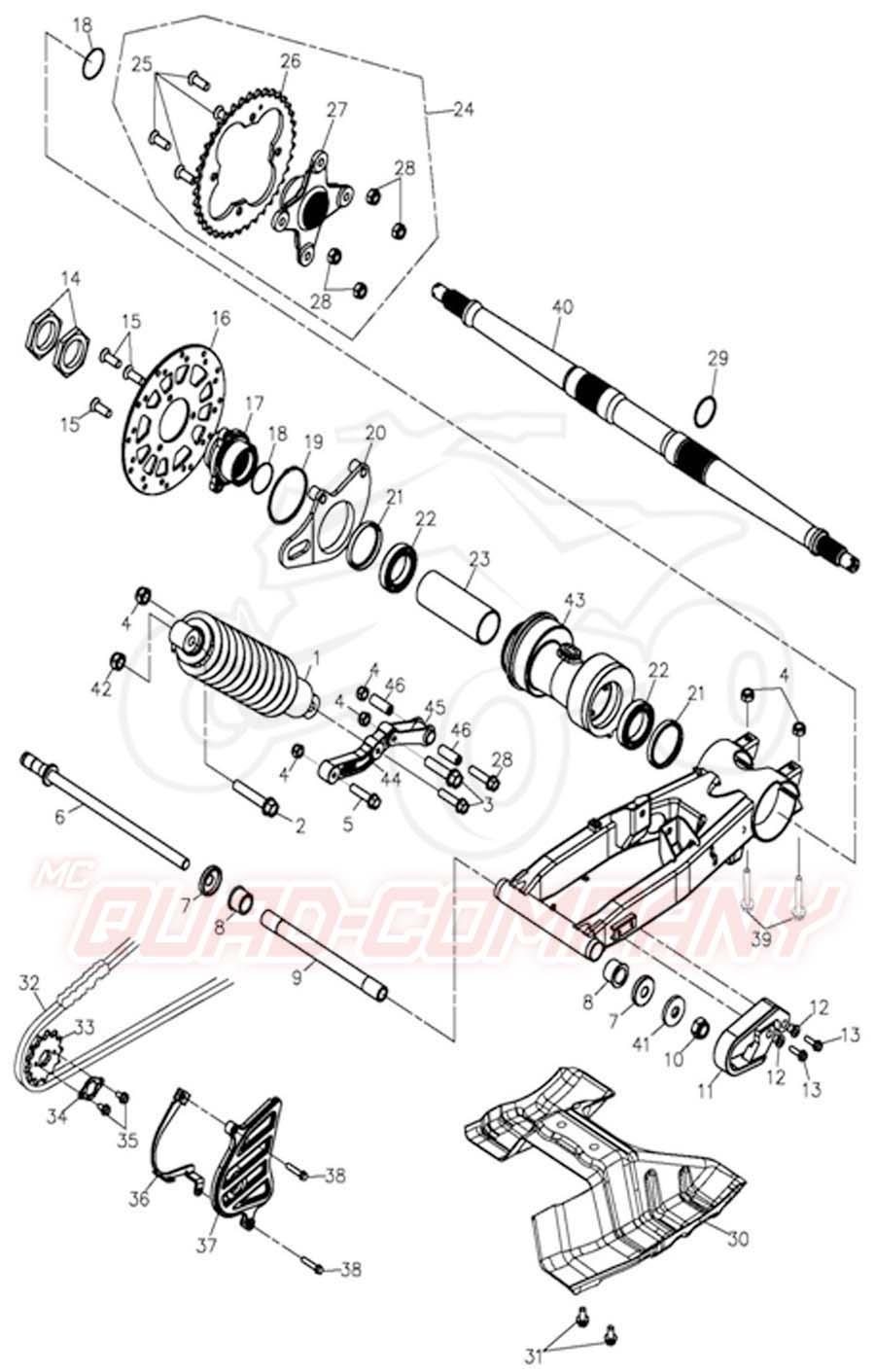 Adly ATV 300 Interceptor Hinterachse Ersatzteile