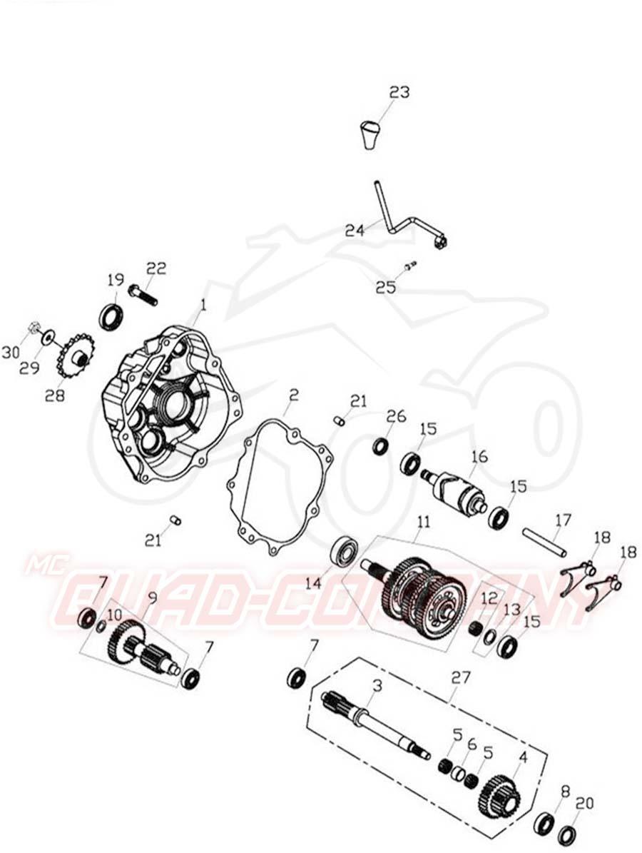 Adly ATV 50 RS XXL LC weiß-blau Getriebe Ersatzteile