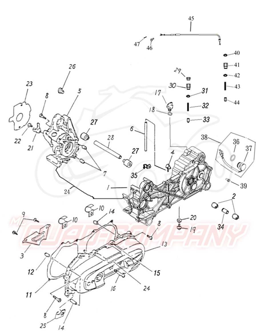 Adly ATV 50 RS XXL LC weiß-blau Kurbelgehäuse Ersatzteile