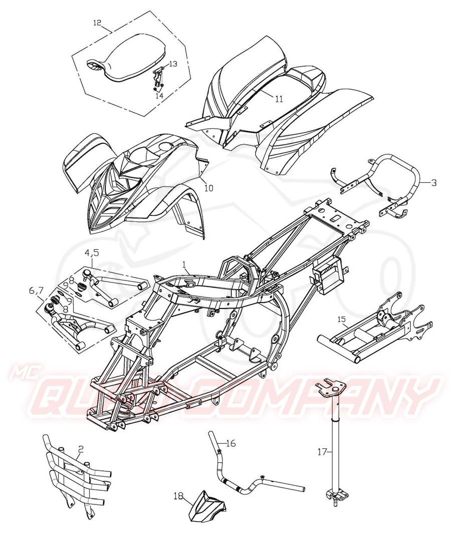 Adly ATV 50 RS XXL LC weiß-blau Rahmen, Verkleidung, A