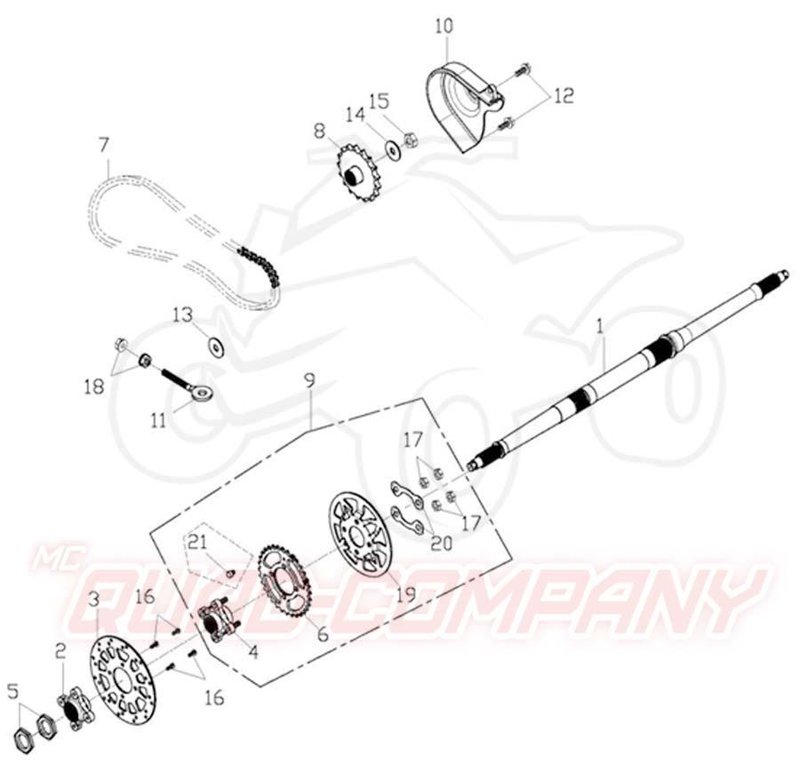 Adly ATV 50 RS XXL schwarz Hinterachse Ersatzteile