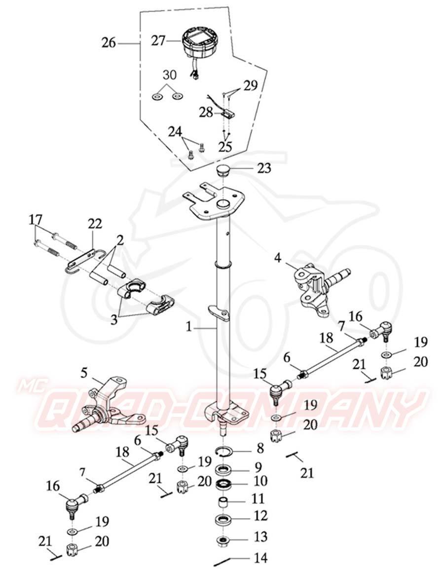 Adly ATV 50 RS XXL schwarz Lenkung und Tachometer Ersatzteile