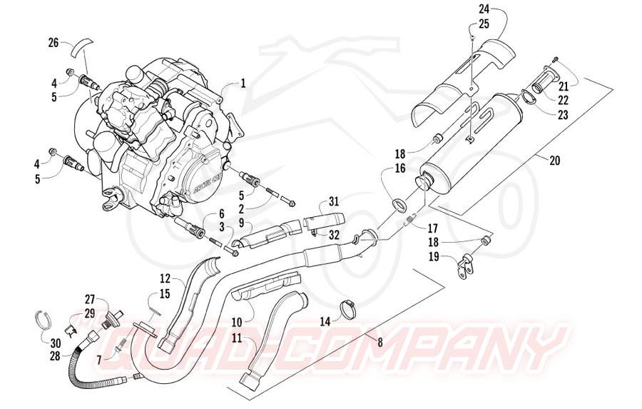 Arctic Cat ATV 550 EFT Bj. 11 Motor und Auspuff Ersatzteile