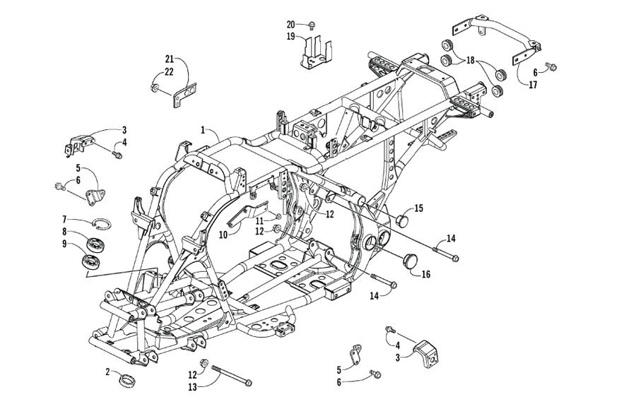 Arctic Cat ATV 250 Utility ab Bj. 06 Rahmen und Anbauteile