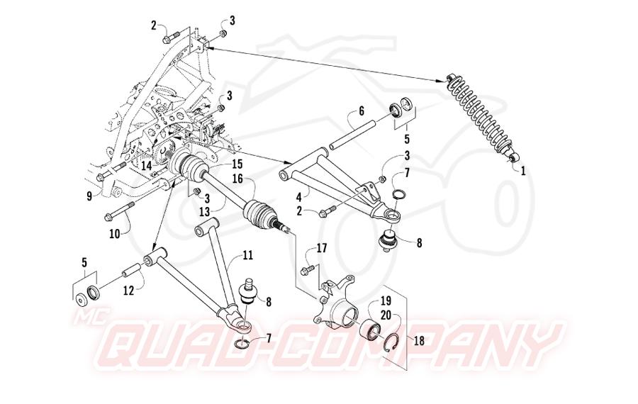 Arctic Cat ATV 400 2x4/4x4 EFT Bj. 09 Vorderradaufhängung