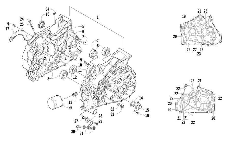 Arctic Cat XC 450 EFT Bj. 11 Motorgehäuse Ersatzteile