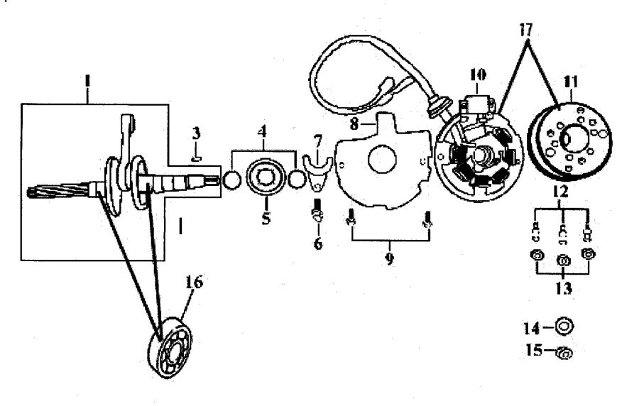 CPI GTR 50 Bj. 04-05 Kurbelwelle Lichtmaschine Ersatzteile