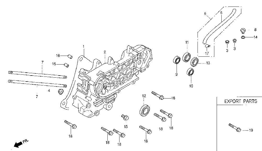 Daelim NS 125 Motorgehäuse links Ersatzteile