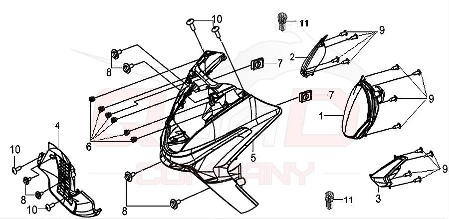 SYM GTS 125 (LM12W3-6) Frontverkleidung Scheinwerfer