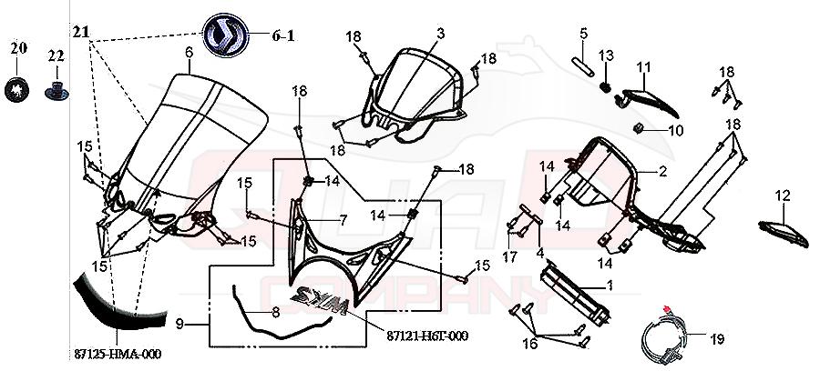 SYM GTS 250 (LM25W-6) Windschild Tachometer Verkleidung