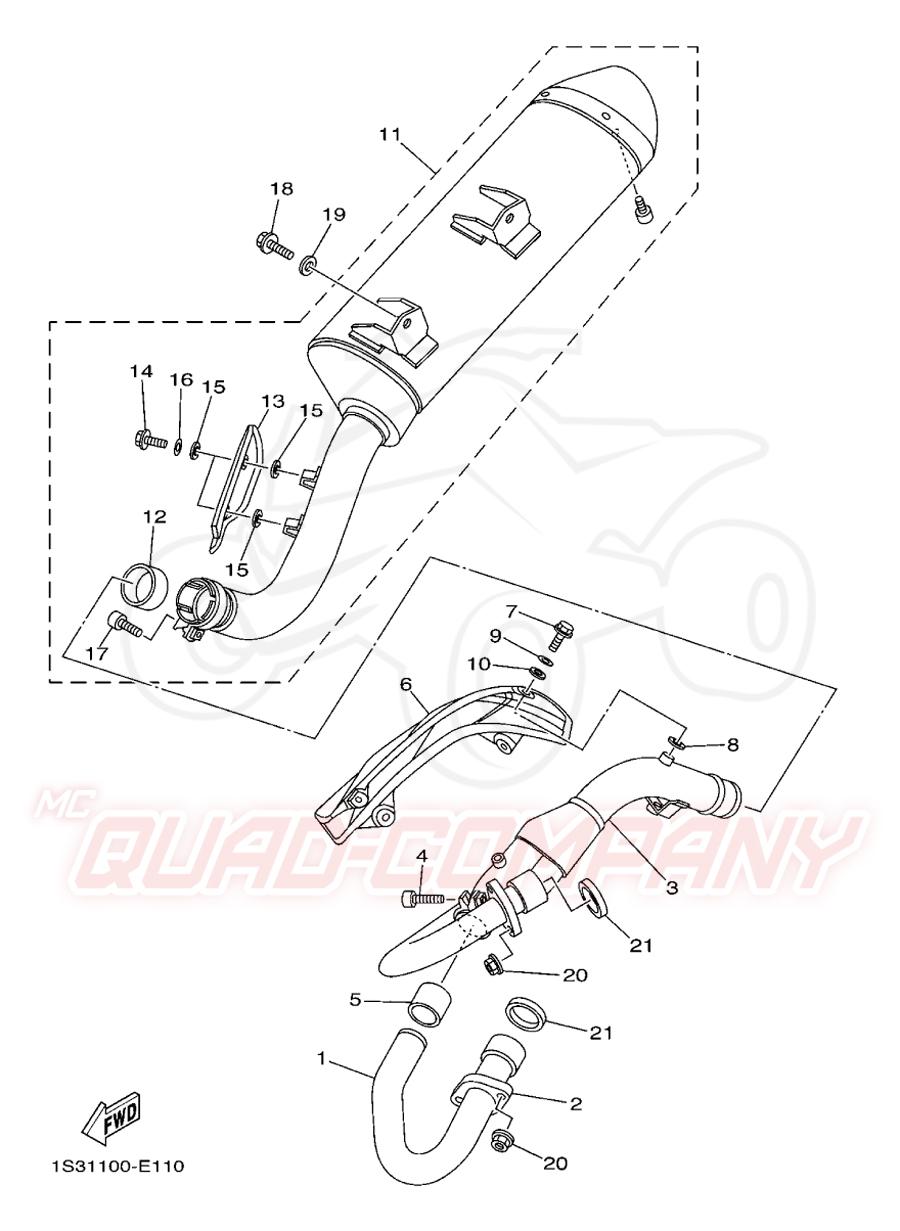 Yamaha YFM 700 Raptor 1S33 Auspuff Ersatzteile