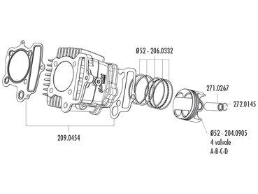 Kolben Satz Polini 107ccm 52mm (C) für Polini
