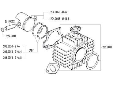Ride Ersatzteile Kolbenring Polini 65ccm 46,4x1,5mm für