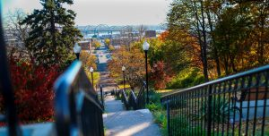 view of Bettendorf, IA from the top of an outdoor staircase