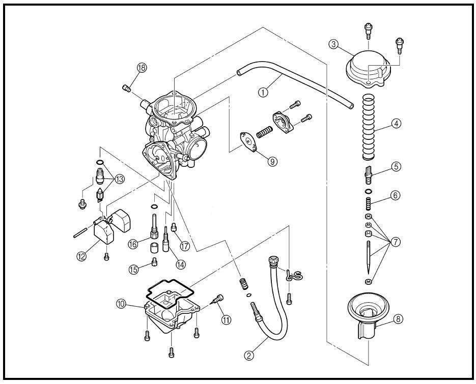 Yamaha Big Bear 400 Carburetor Diagram Kawasaki Brute