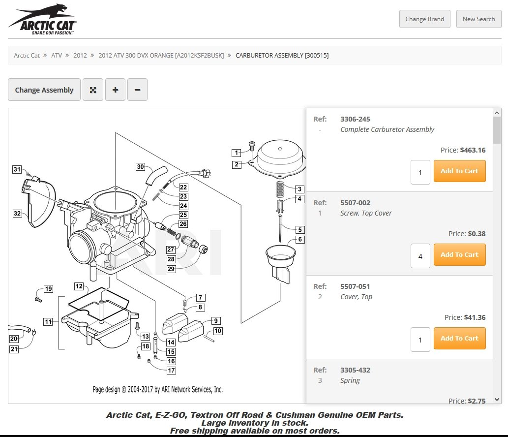 Arctic Cat 300 Carburetor Diagram