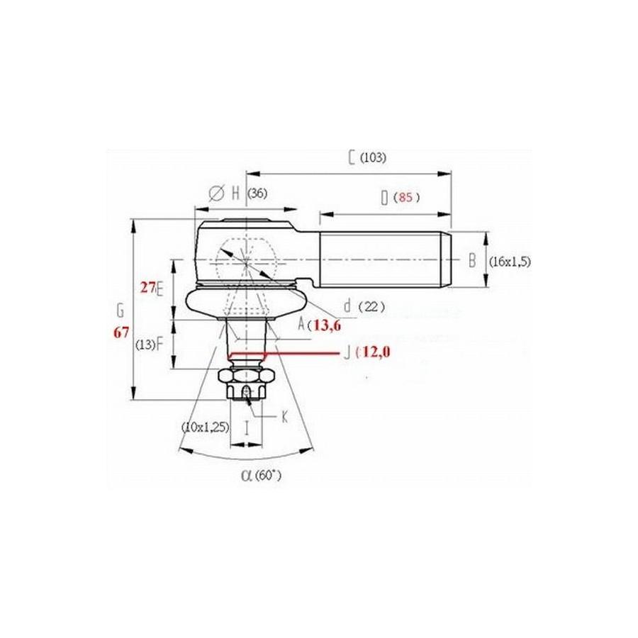 Kugelgelenk Tragegelenk QPP RS1 80mm für obere A-Arm für