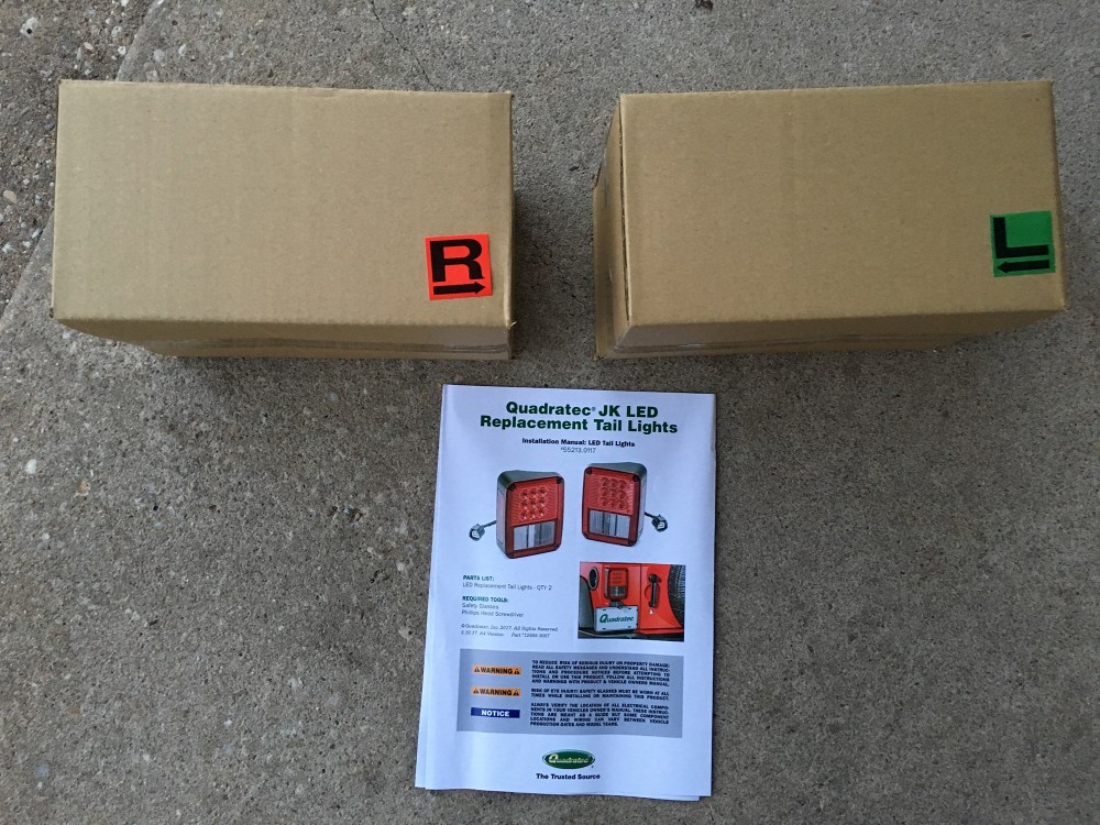 medium resolution of now as far as installation goes quadratec s led tail lamps arrive in boxes with labels indicating left and right side and include c shaped adapter