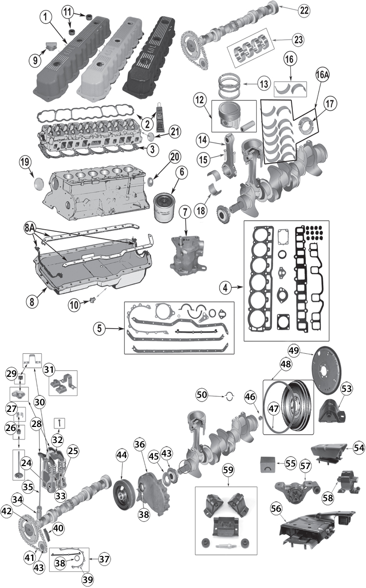 medium resolution of 1987 2006 jeep 4 0l 242ci inline 6 cylinder engine replacement parts