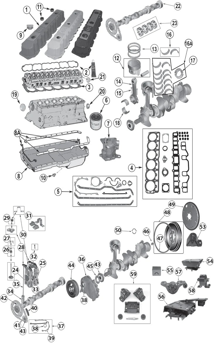 hight resolution of 1987 2006 jeep 4 0l 242ci inline 6 cylinder engine replacement parts