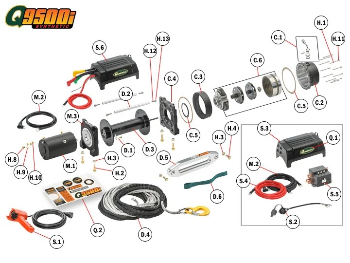 badland 3500 winch wiring diagram 3 chambered heart q9500is replacement parts | quadratec