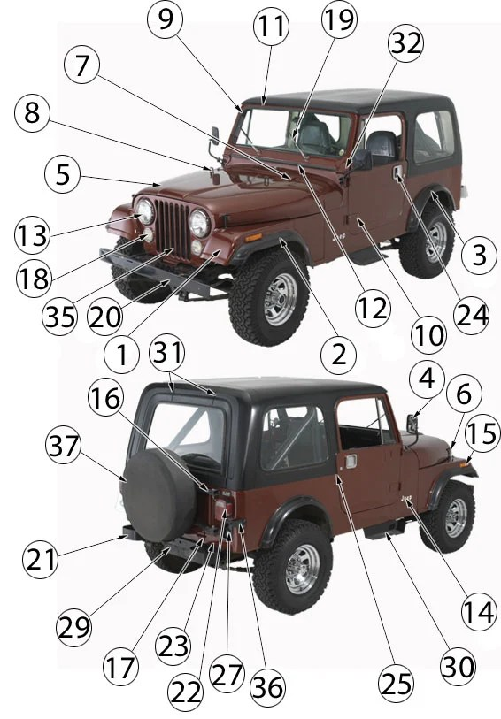 Jeep Cj Series Exterior Body Parts 53 86