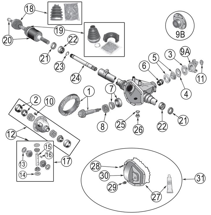 2006 jeep liberty wiring diagram composite key in er kj dana 30 front axle parts ('02-'07)   quadratec