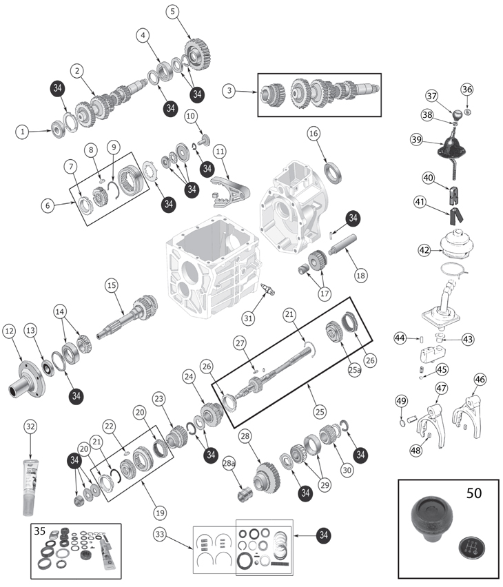 New Process 435 Manual Transmission Parts Rebuild Kits