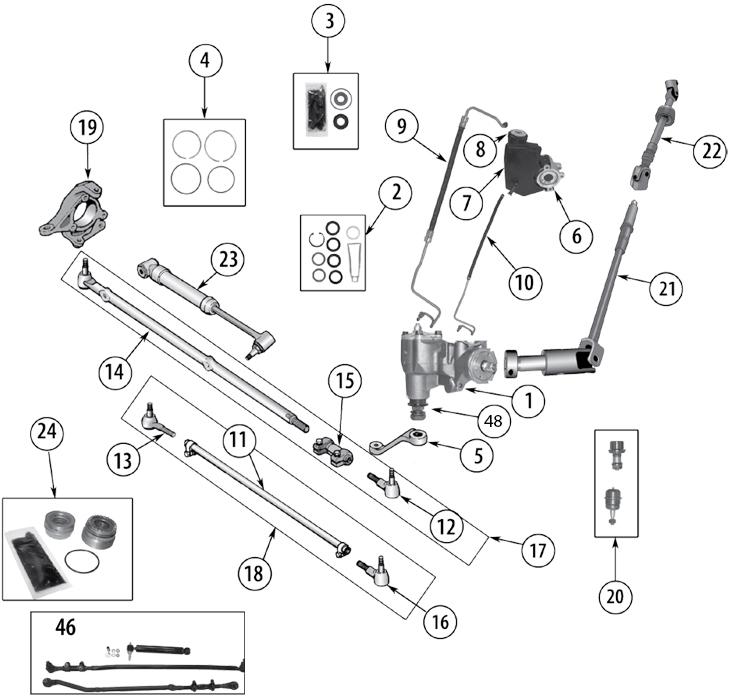 jeep wrangler steering parts diagram