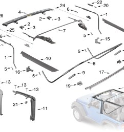 jeep wrangler jk soft top hardware parts [ 2117 x 1707 Pixel ]