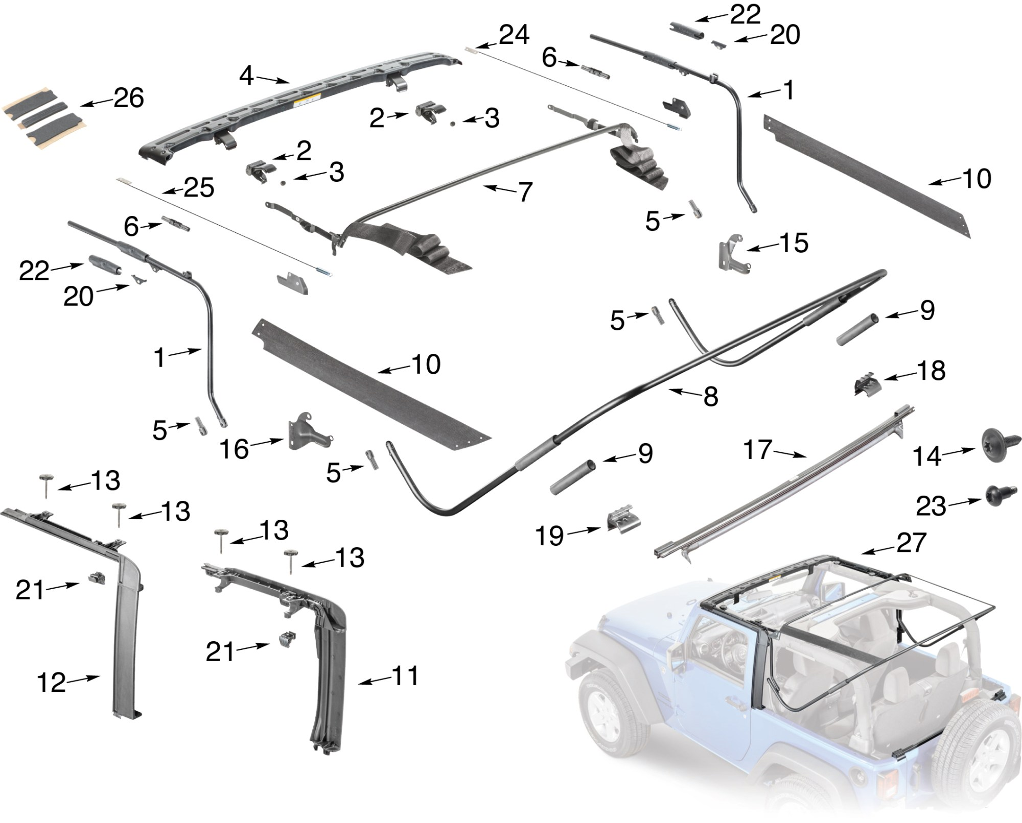 hight resolution of jeep wrangler jk soft top hardware parts