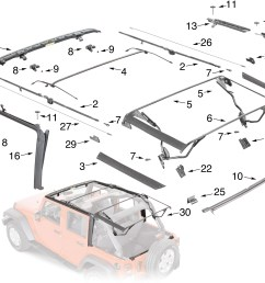 jeep wrangler jk soft top hardware parts [ 2212 x 1614 Pixel ]
