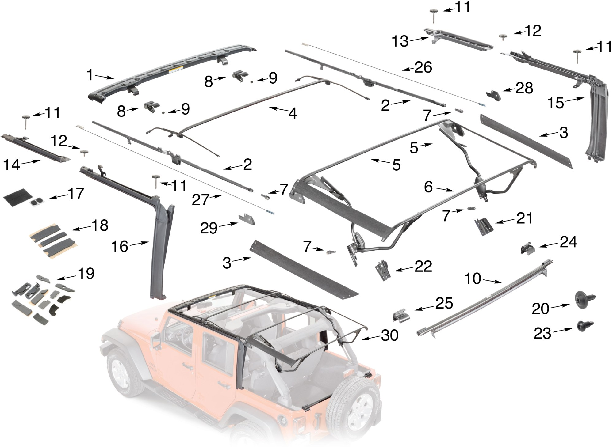 hight resolution of jeep wrangler jk soft top hardware parts