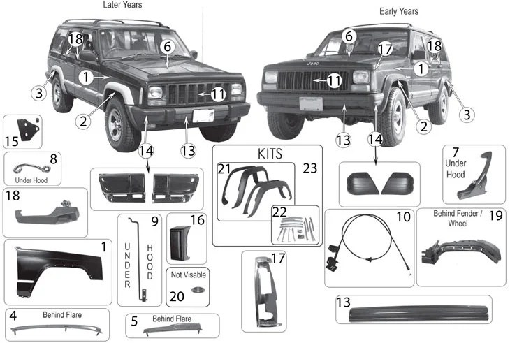jeep xj replacement interior parts