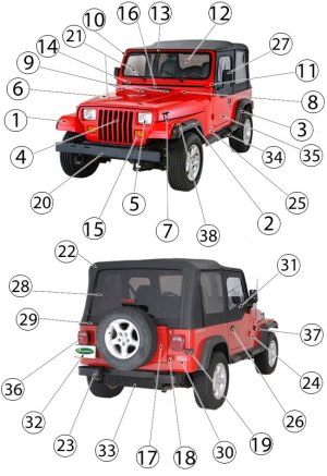 Jeep Wrangler YJ Exterior Body Parts ('87'95) | Quadratec