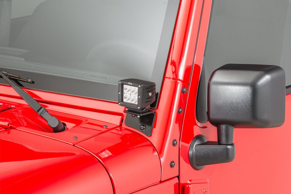medium resolution of quadratec 3 cube led with wiring harness windshield mounting brackets for 07 18 jeep wrangler jk quadratec