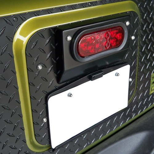 small resolution of warrior products 1562 center tailgate mount license plate bracket for 07 18 jeep wrangler jk quadratec