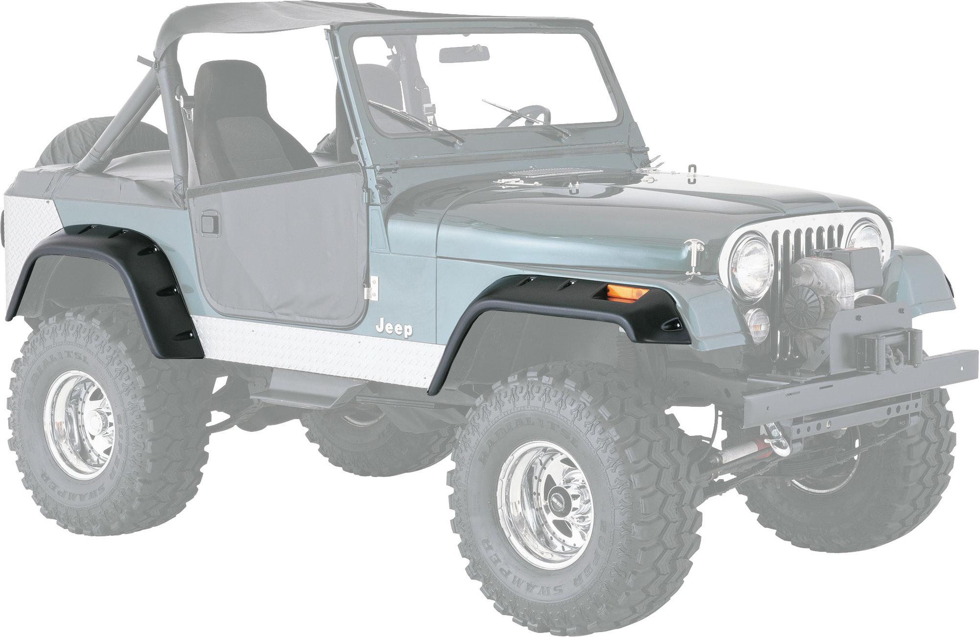 hight resolution of quadratec 6 pocket style fender flares for 76 86 jeep cj 5 cj 7 quadratec