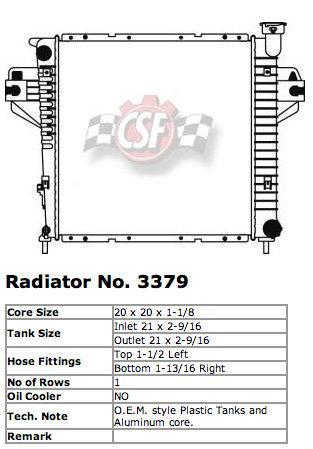 CSF 3379 OE Replacement Radiator with Plastic Tank